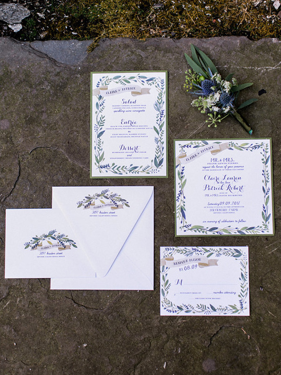 floral border wedding stationery by Mary Harris Events