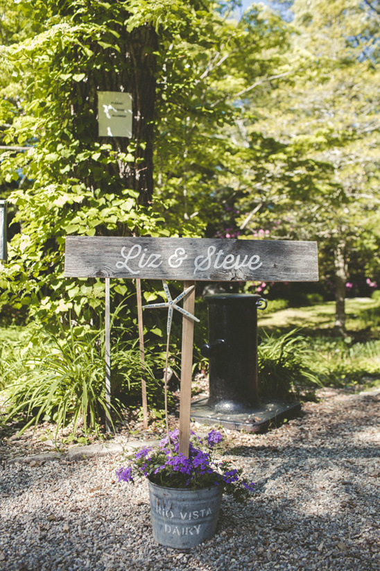 flower bucket wedding sign