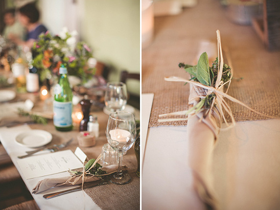 burlap table runner and assorted centerpiece elements