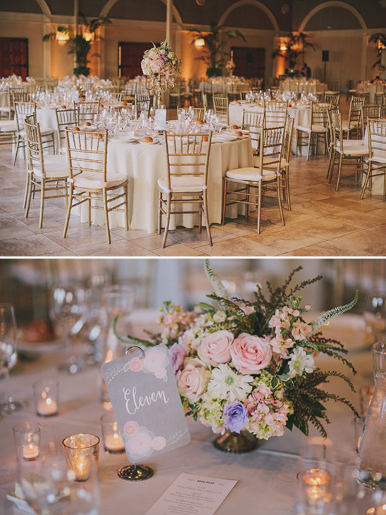 table numbers and candle lit reception tables