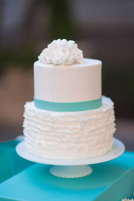 Tiffany blue and ruffled wedding cake