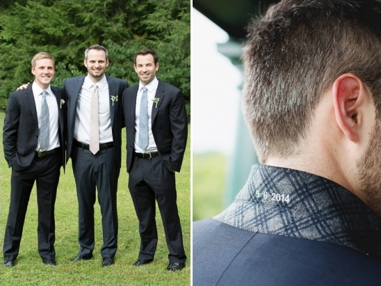 wedding date embroidered into grroms suit jacket