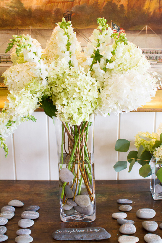 white hydrangea and stock centerpiece