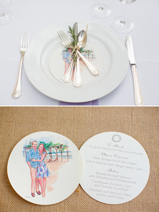 rosemary tied silverware and circular menu