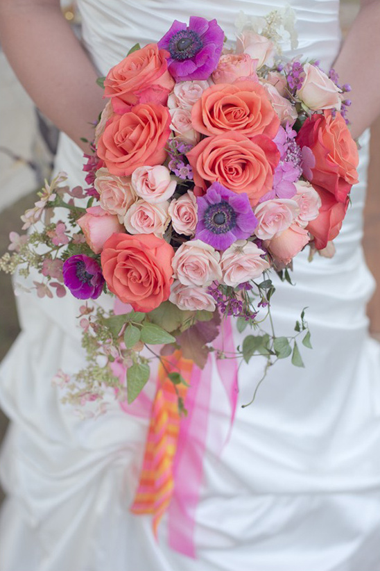 pink peach and purple wedding bouquet