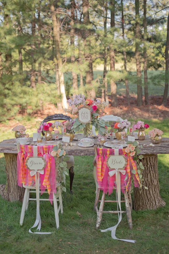 backyard wedding wood table reception idea