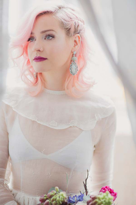 pink wedding hair