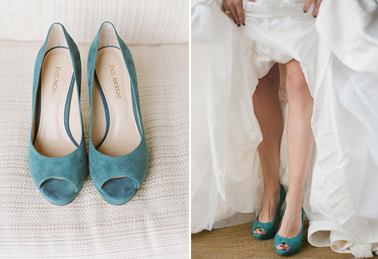blue velvet peep toe wedding pumps