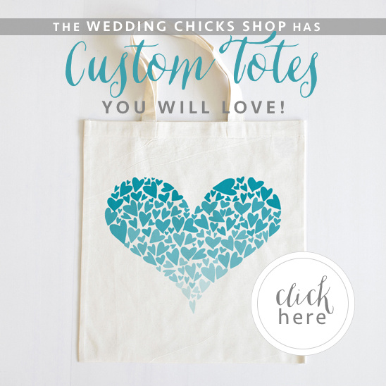 custom totes from the Wedding Chicks Shop