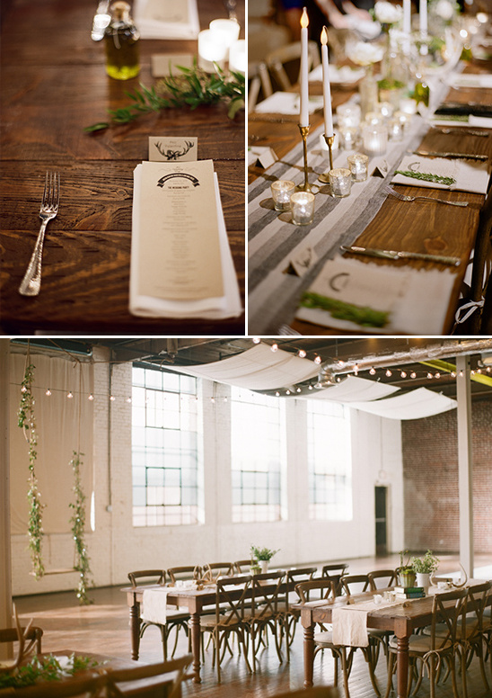 warm wooden table with candle centerpieces