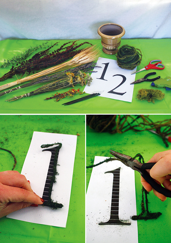 outline table numbers in moss wire
