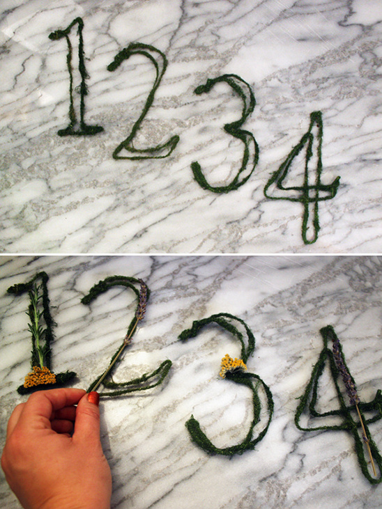attach flower and herbs to your numbers