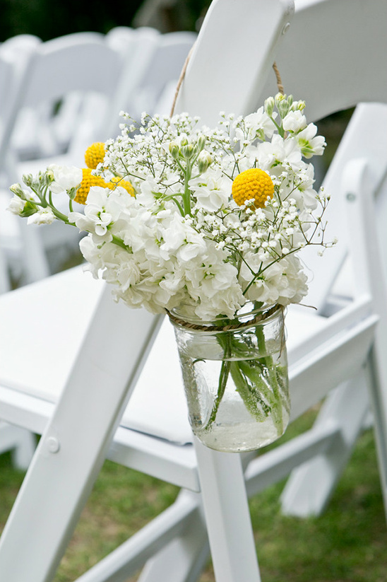 white florals with yellow billy buttons