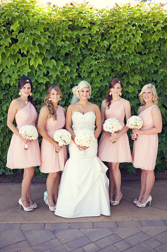 pink cocktail length bridesmaid dresses