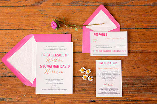 pink and orange wedding stationery by Pink Champagne Paper