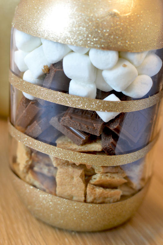 S Mores Bars In Diy Glitter Mason Jars