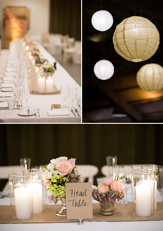 modern reception decor with champagne accents
