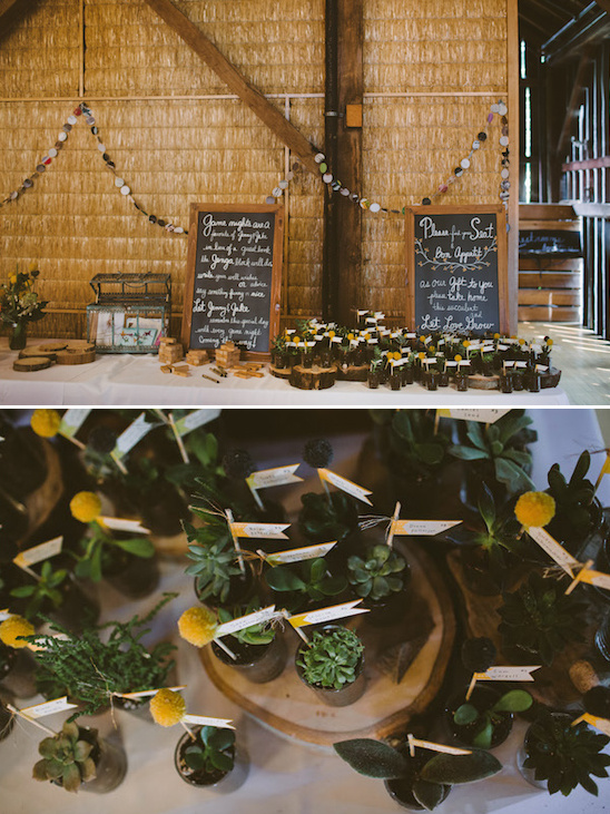 welcome table with potted plant favors