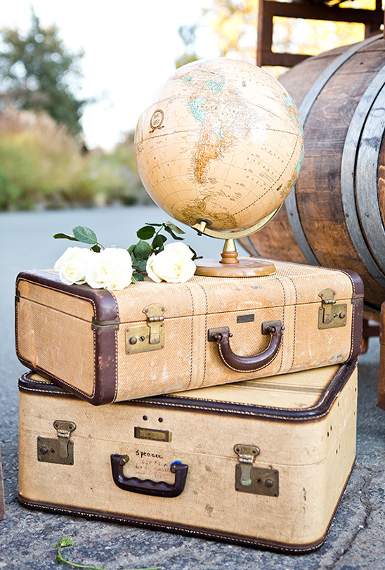 suitcases and globe decor