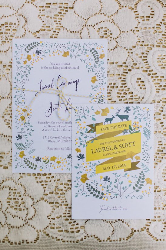 flower border wedding invitations