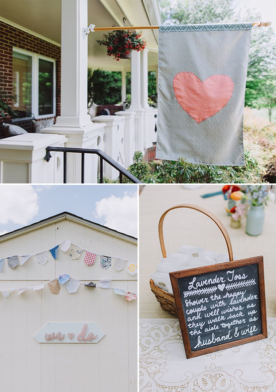 DIY wedding decor and lavender toss sign