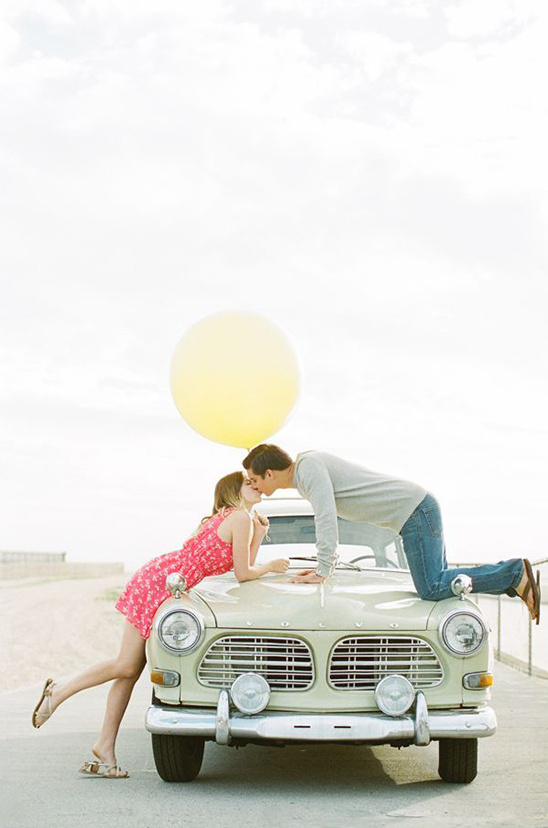 vintage car engagement