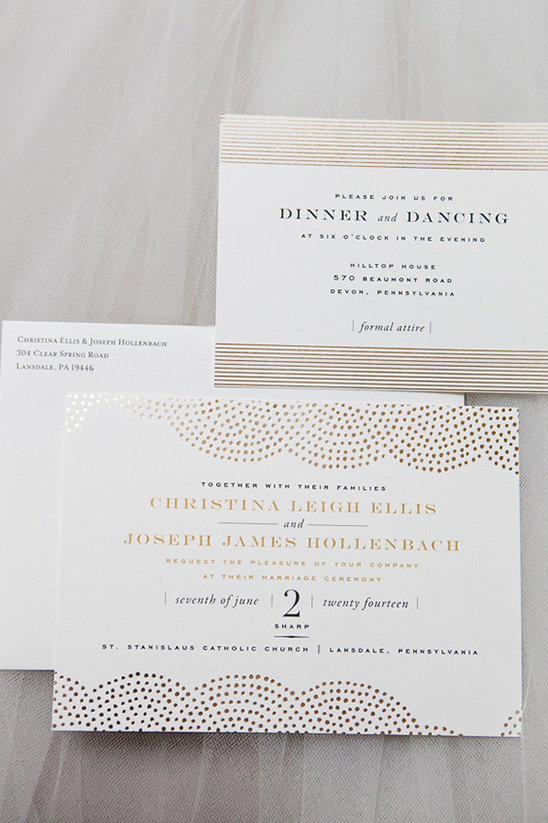 gold foil pattern wedding stationery