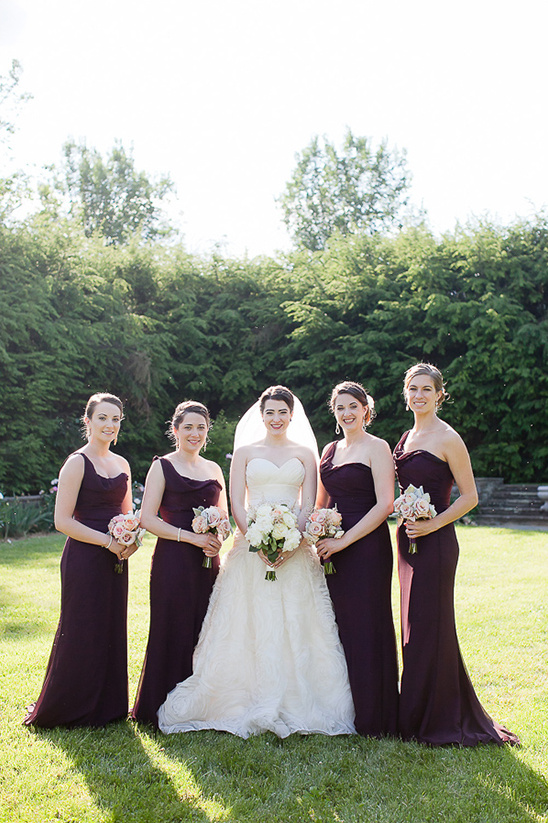 deep purple long bridesmaid dresses