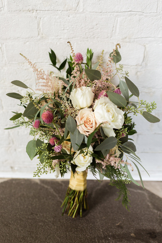 pink and peach bridal bouquet from Mowrers Flowers