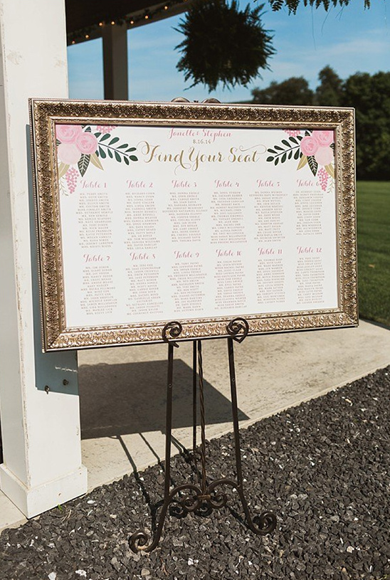 framed seating sign