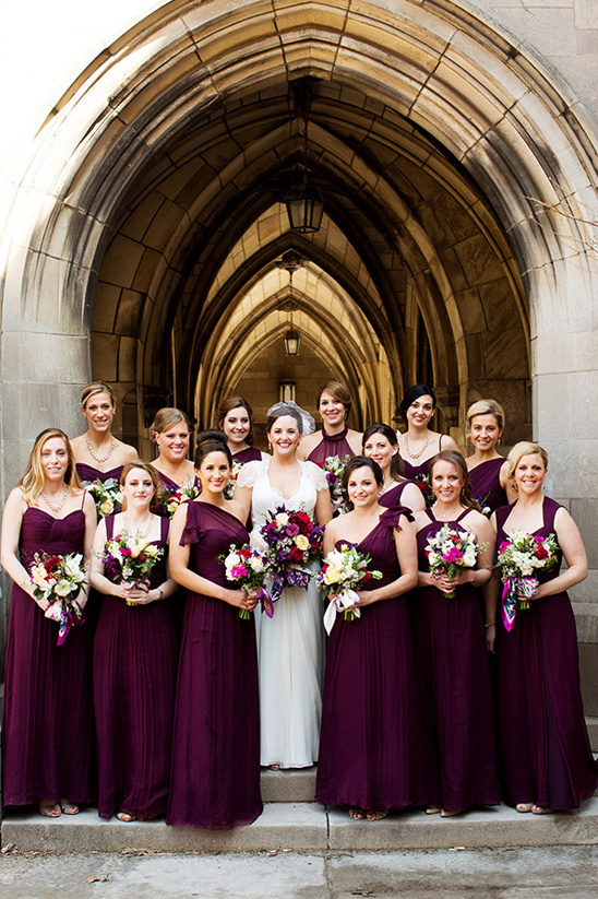 deep fig colored bridesmaid dresses