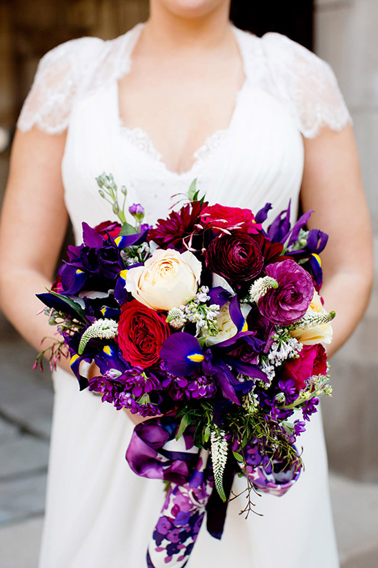 purple bouquet tied up with a silk scarf