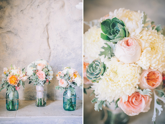 green and peach bouquets