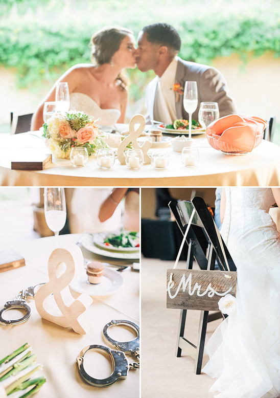 sweetheart table with playful handcuff centerpiece