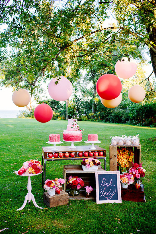pink lady dessert table idea