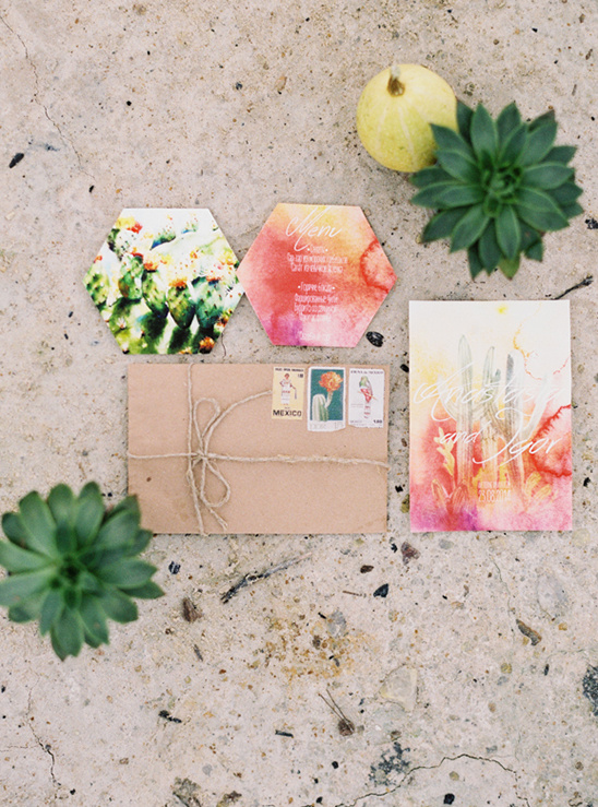 bright watercolor cactus invites