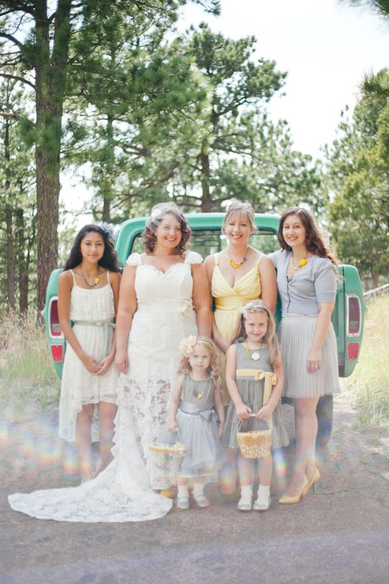 yellow and grey bridal party