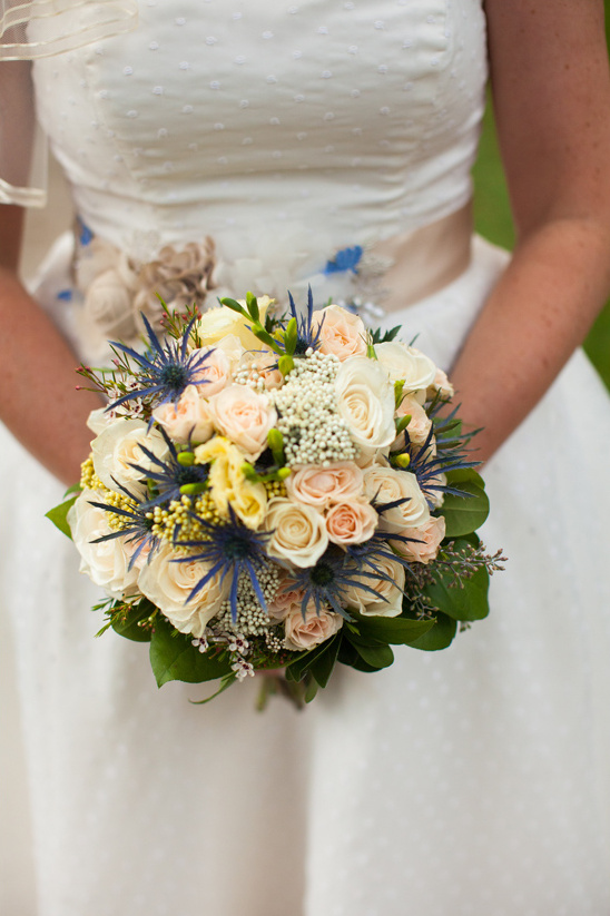 peach rose and thistle bouquet