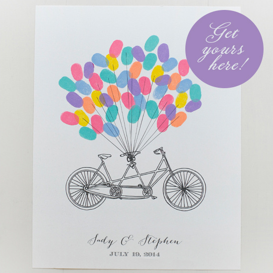 thumb print bicycle guestbook