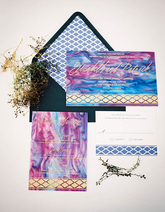 purple and blue geode inspired stationery
