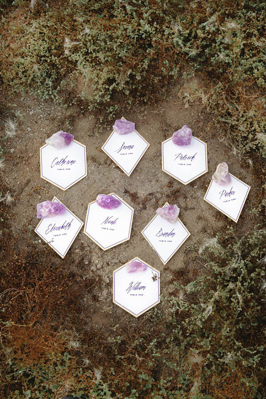 geometric purple and white escort cards