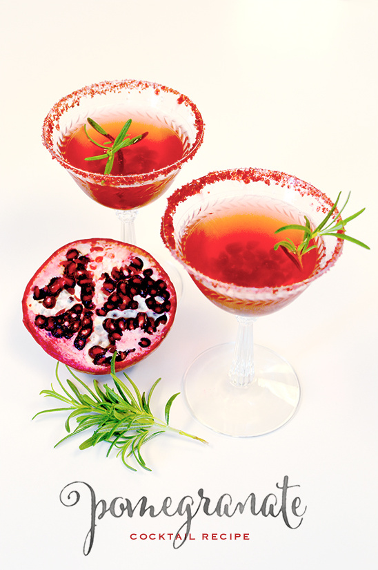 Pomegranate Cocktail Recipe With Sugar Glitter Rim