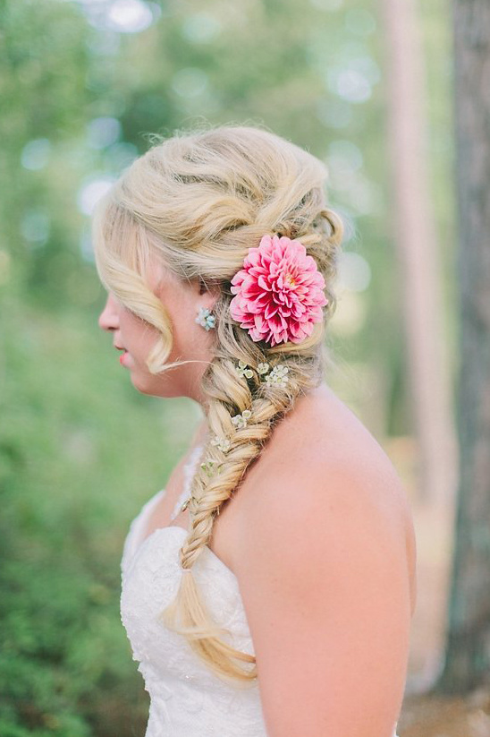 braided wedding hair with floral accents