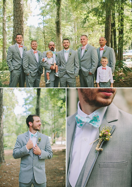gray suits mismatched bow ties