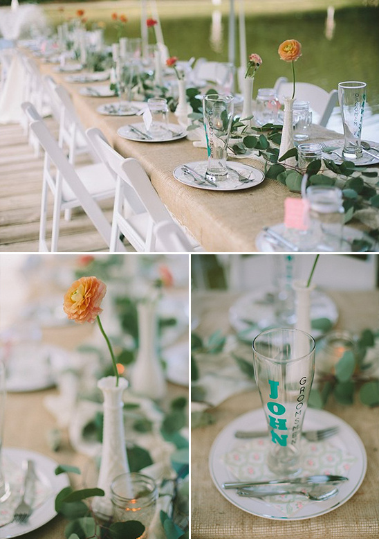 wedding party table with custom glasses