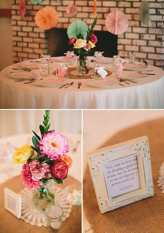 indoor seating with love quotes on each table