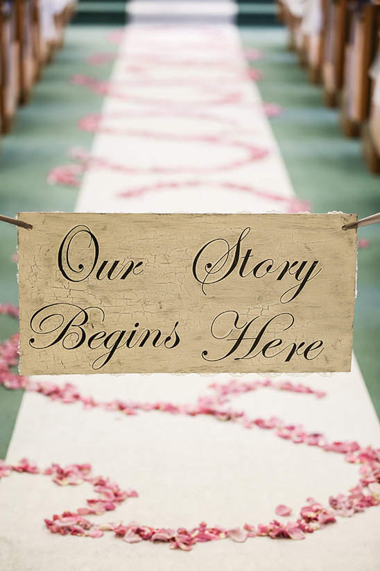 our story begins here aisle sign