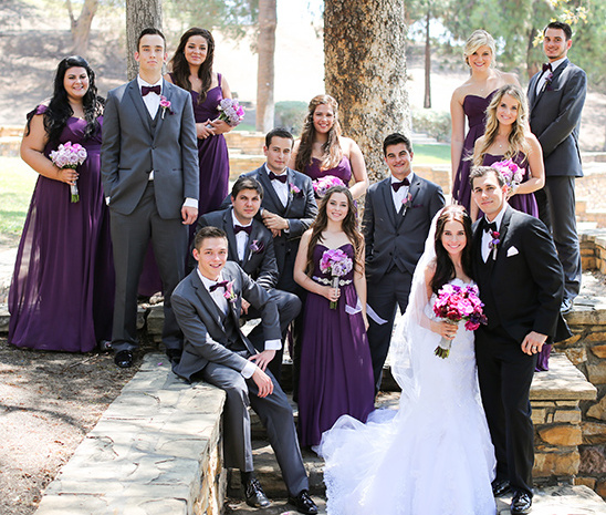 purple and gray bridal party