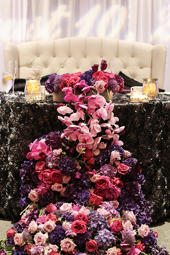 cascading florals sweetheart table