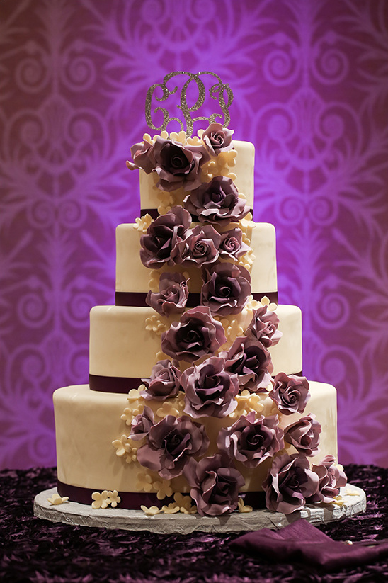 purple rose cascade wedding cake
